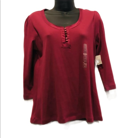 NWT St Johns Bay  Rouched Shoulder henley top
